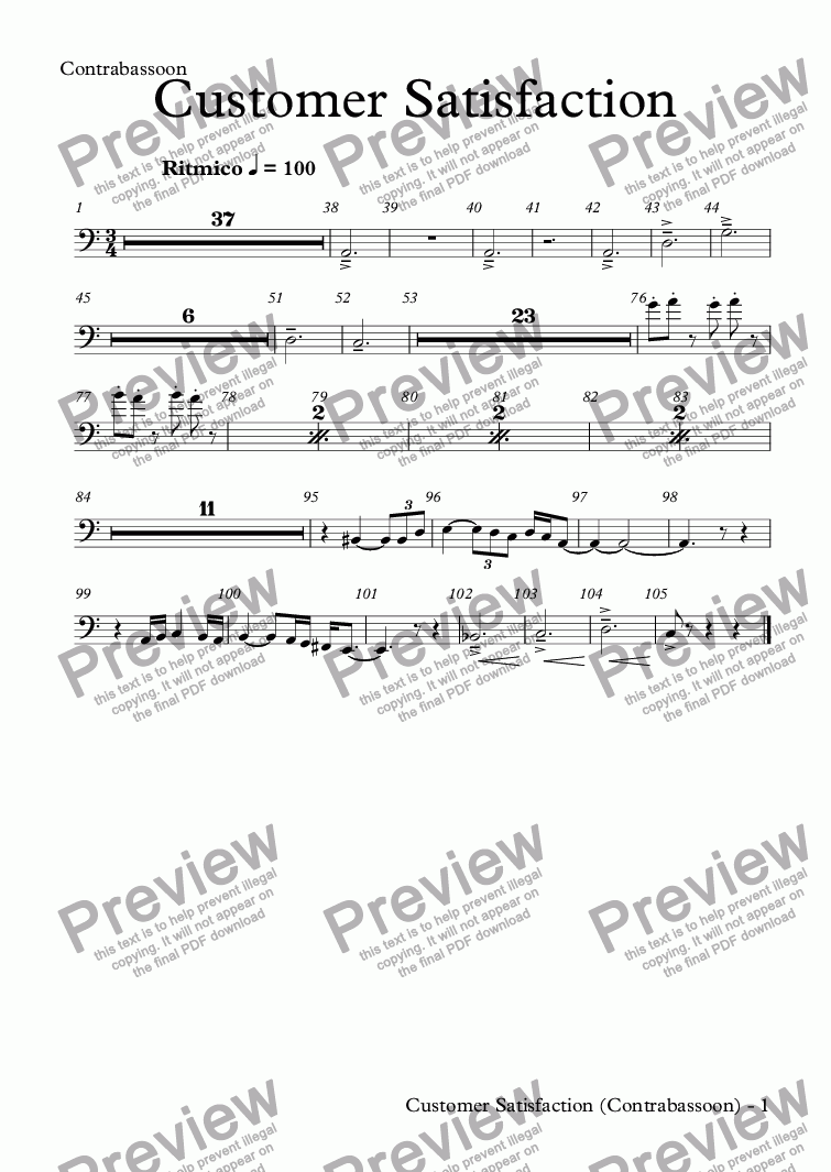 page one of the Contrabassoon part from Customer Satisfaction (orchestra)