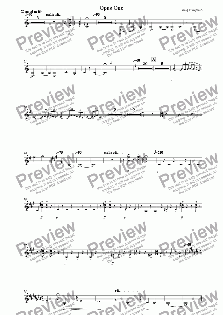 page one of the Clarinet in Bb part from Opus One