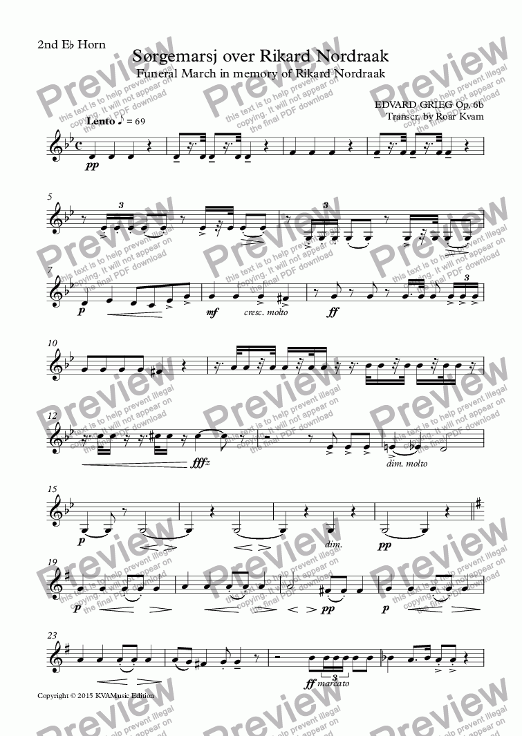 page one of the 2nd E^b Horn part from Grieg: Sørgemarsj over Rikard Nordraak | Funeral March in memory of Rikard Nordraak (Brass Band)