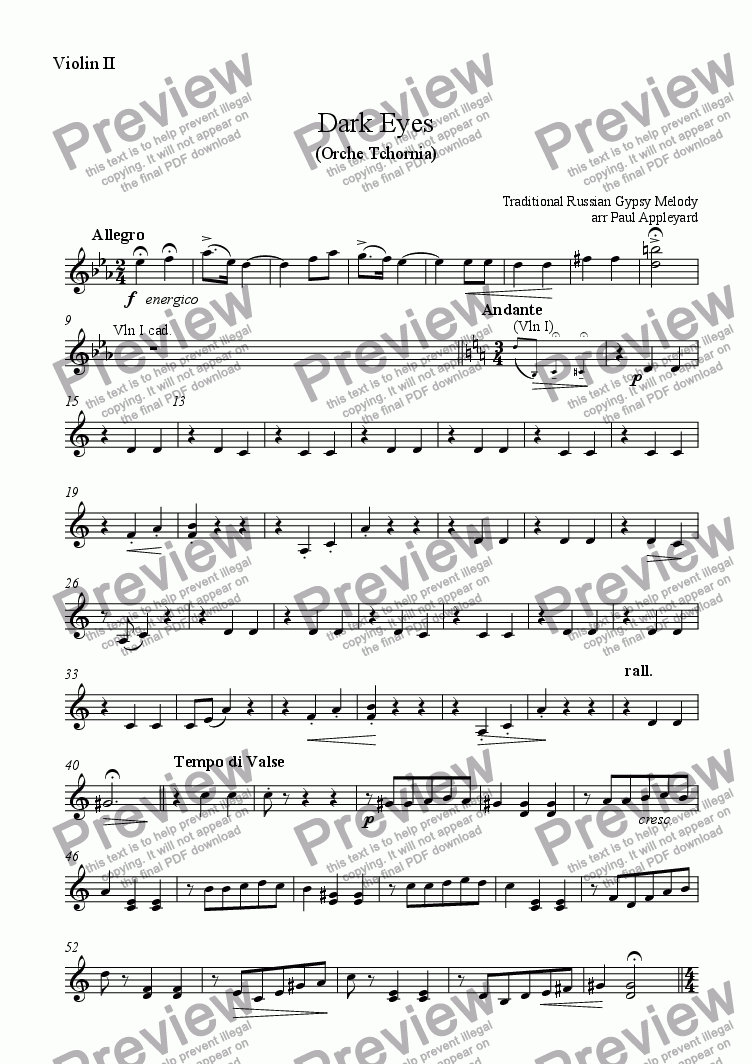 page one of the Violin II part from Dark Eyes (Orche Tchornia)