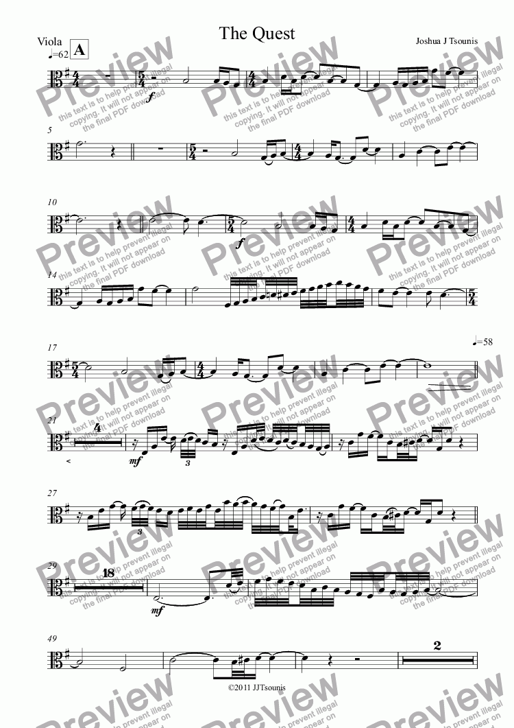 page one of the Viola part from The Quest