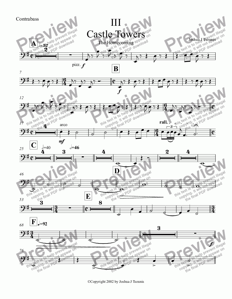 page one of the Contrabass part from Castle Towers