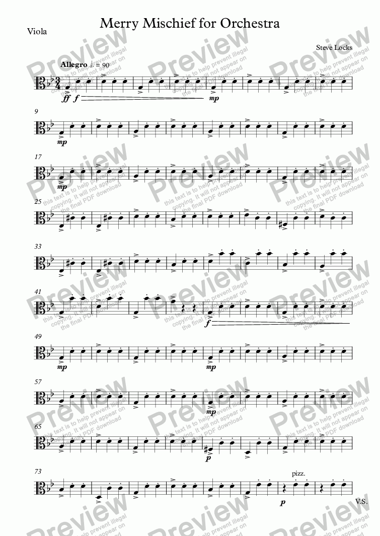 page one of the Viola part from Merry Mischief for Orchestra