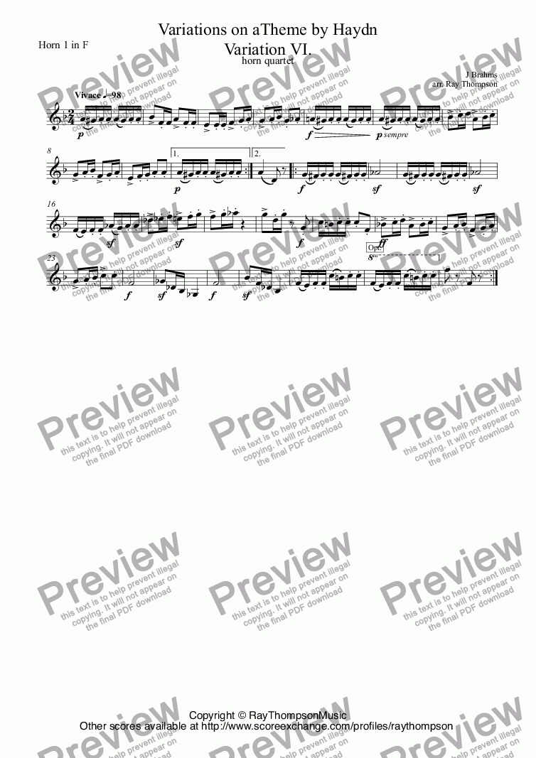 page one of the Horn 1 in F part from Brahms: Variations on a Theme by Haydn (St.Anthony Chorale): Variation VI. arr. horn quartet