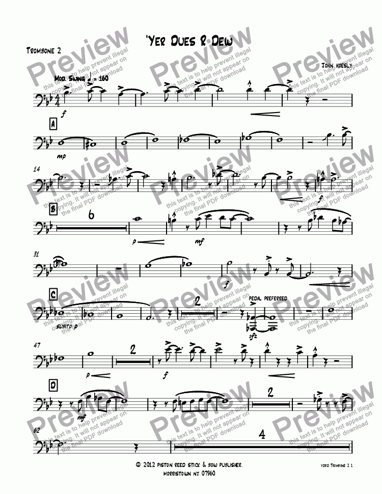 page one of the Trombone 2 part from 'Yer Dues R Dew- big band