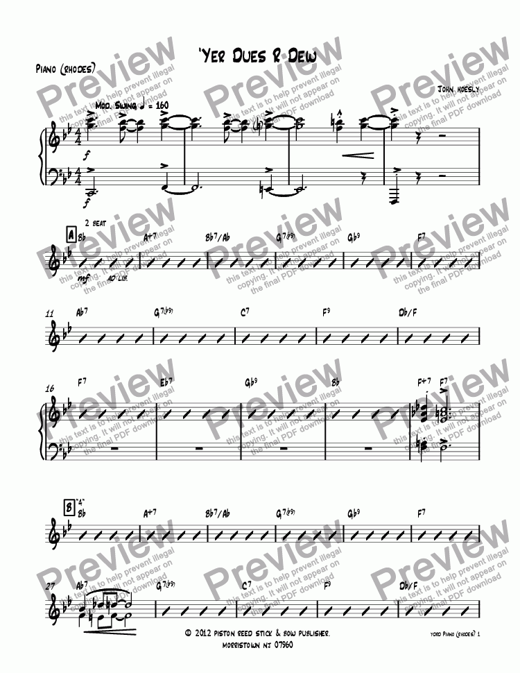 page one of the Piano (rhodes) part from 'Yer Dues R Dew- big band