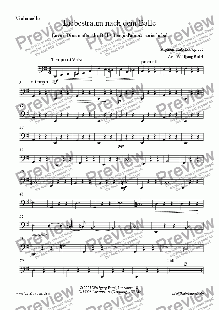 page one of the Violoncello part from Love's dream after the ball (Liebestraum nach dem Balle / Songe d'amour après le bal) (For Strings)