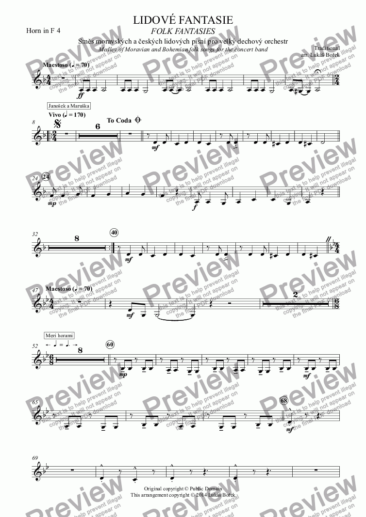 page one of the Horn in F 4 part from FOLK FANTASIES - Lidové fantasie (Medley of Moravian and Czech folk songs for the concert band)