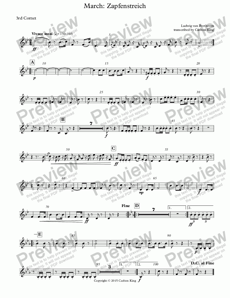page one of the 3rd Cornet part from March: Zapfenstreich