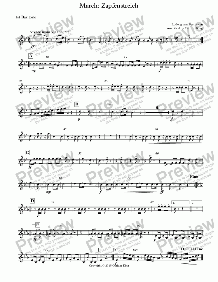 page one of the 1st Baritone part from March: Zapfenstreich