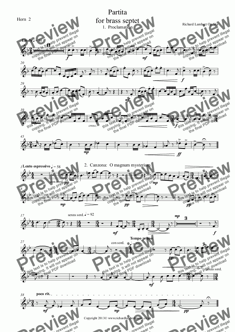 page one of the Horn  2 part from Partita  for Brass Septet