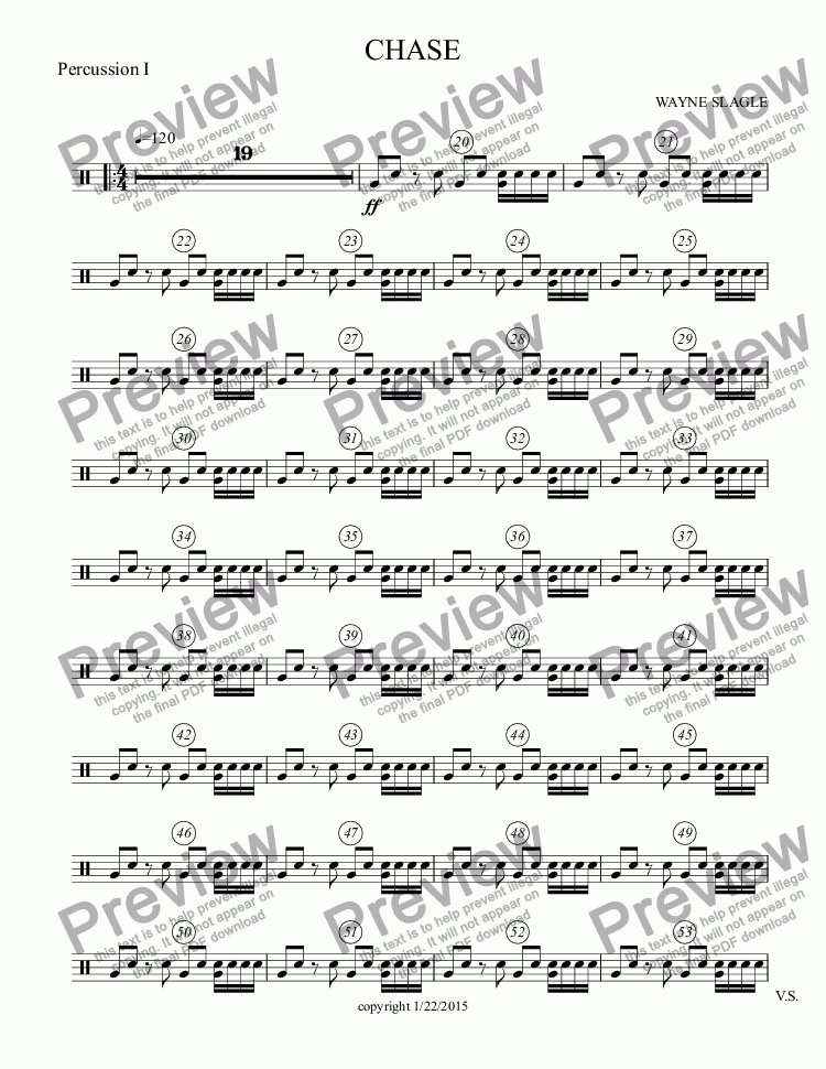 page one of the Percussion I part from CHASE