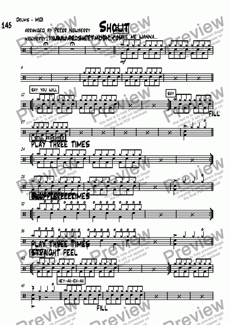 page one of the Drums - MIDI part from Shout