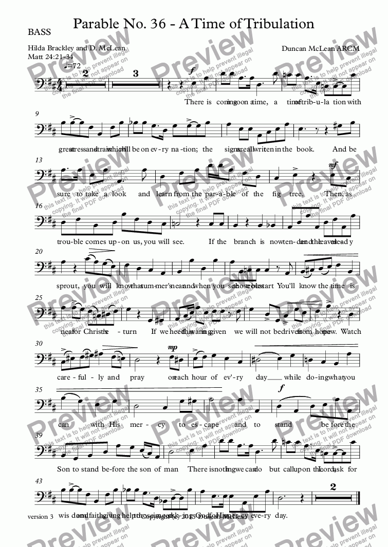 page one of the BASS part from Parable No. 36 - A Time of Tribulation [print up to 30]