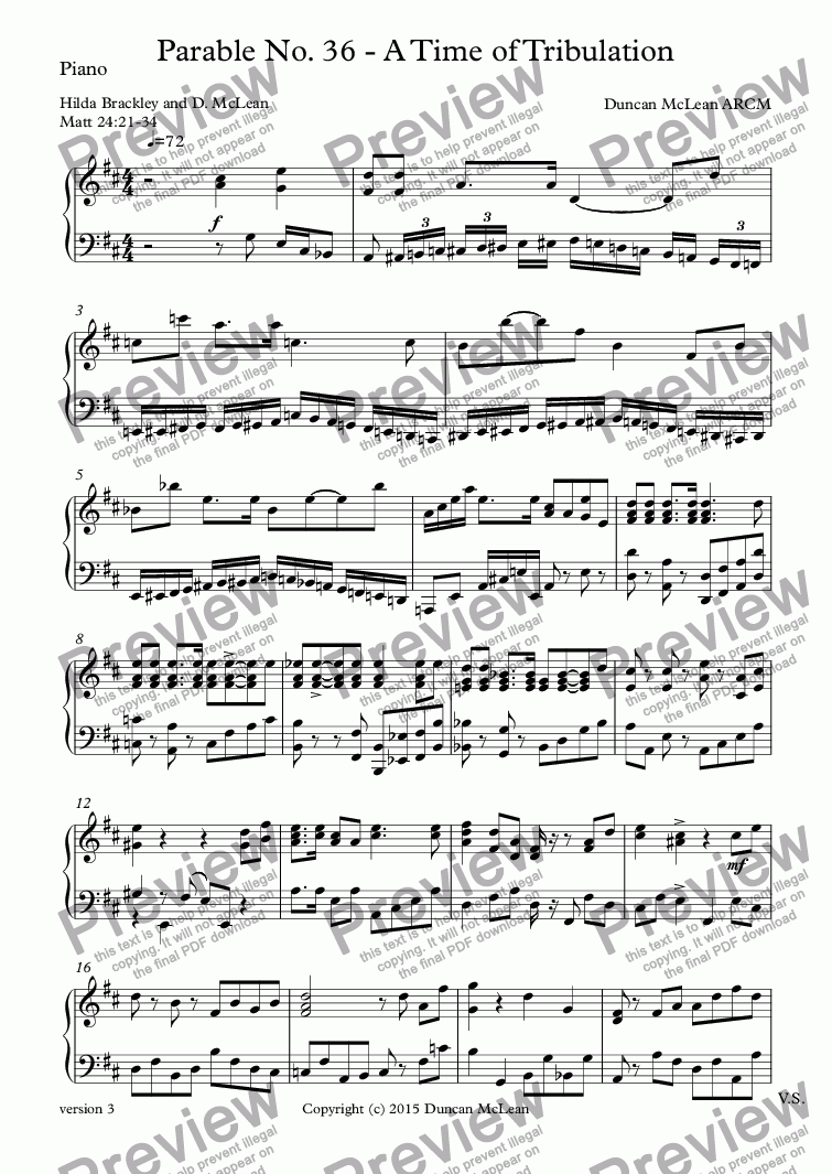 page one of the Piano part from Parable No. 36 - A Time of Tribulation [print up to 30]