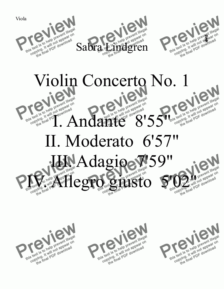 page one of the Viola part from Violin Concerto No. 1 in A minor, IV. Allegro giusto, for Solo Violin with Orchestra