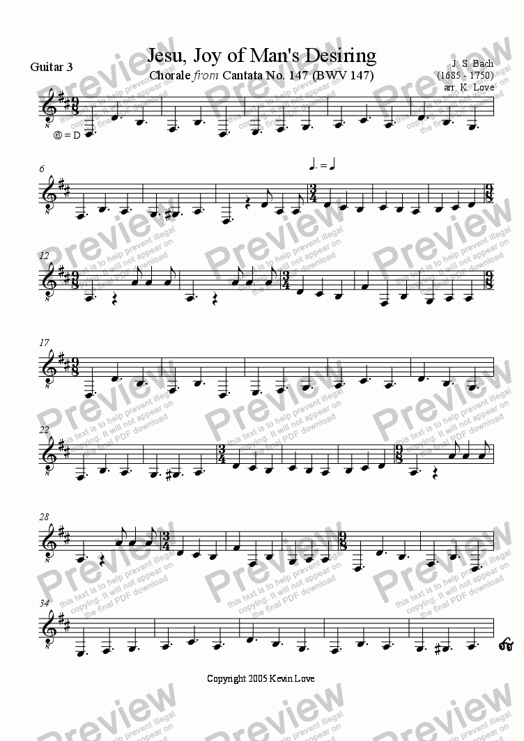page one of the Guitar 3 part from Jesu, Joy of Man's Desiring (Trio)