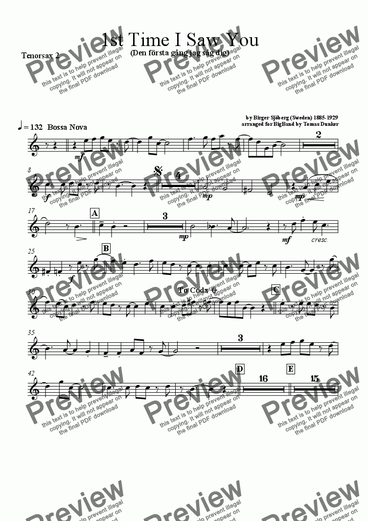 page one of the Tenorsax 2 part from 1st Time I Saw You (BigBand)