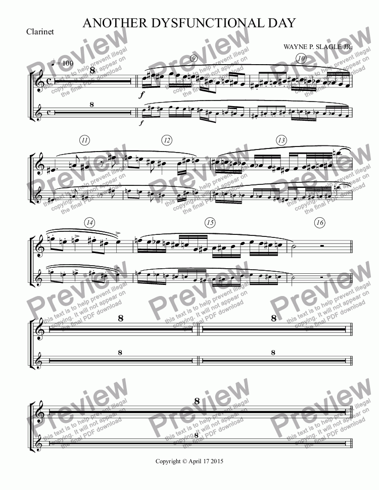 page one of the Clarinet part from ANOTHER DYSFUNCTIONAL DAY