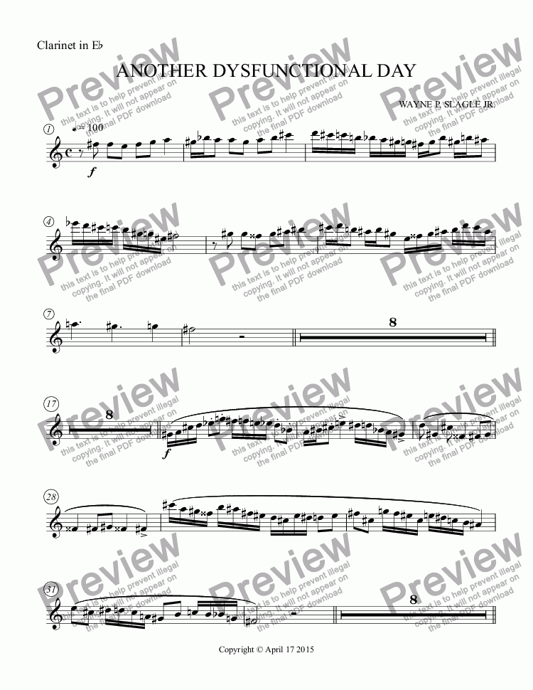 page one of the Clarinet in E^b part from ANOTHER DYSFUNCTIONAL DAY