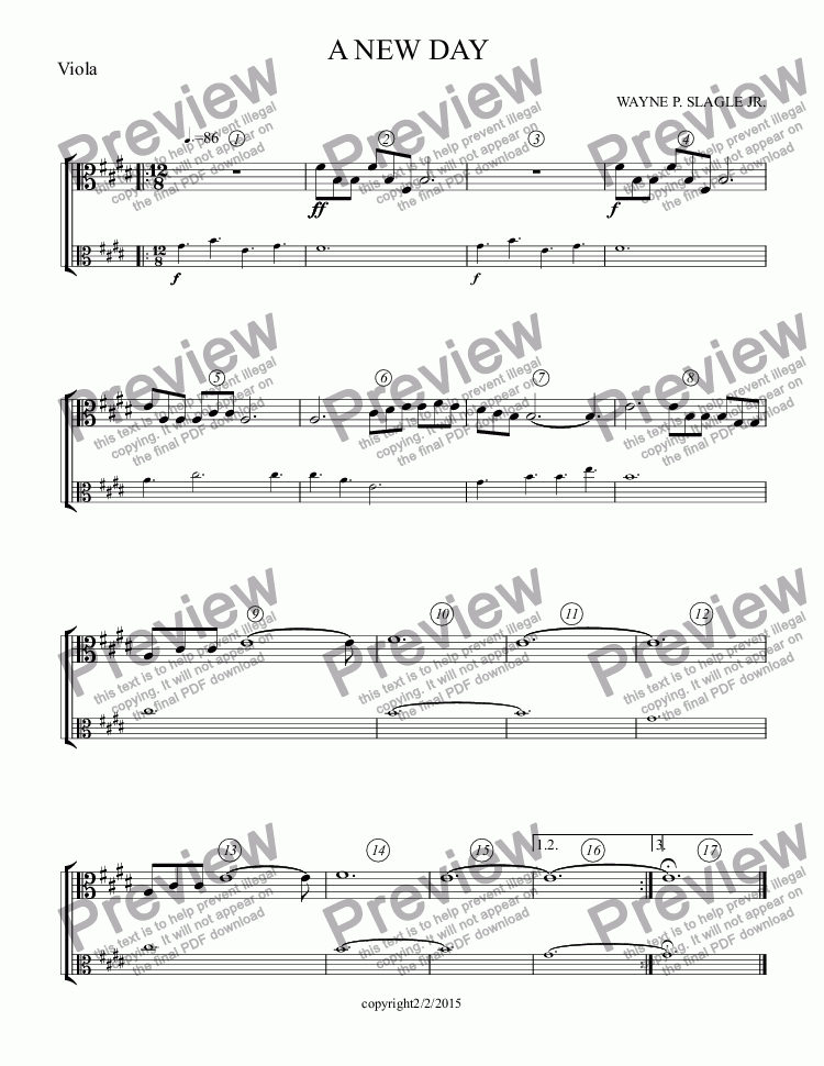 page one of the Viola part from A NEW DAY