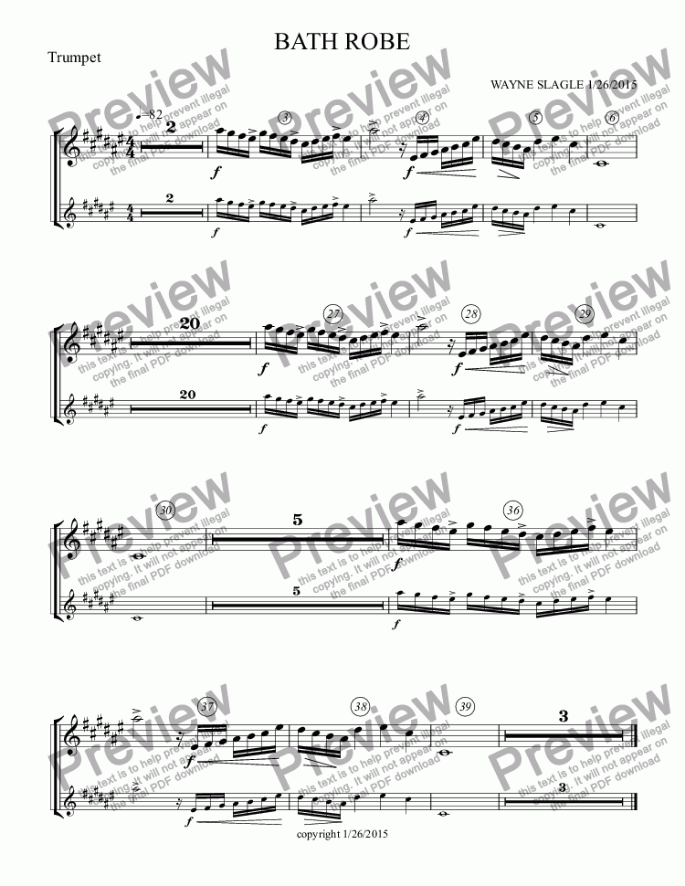page one of the Trumpet part from BATH ROBE