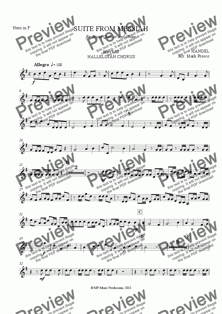 page one of the Horn part from Handel Messiah Suite (xi) - Hallelujah Chorus