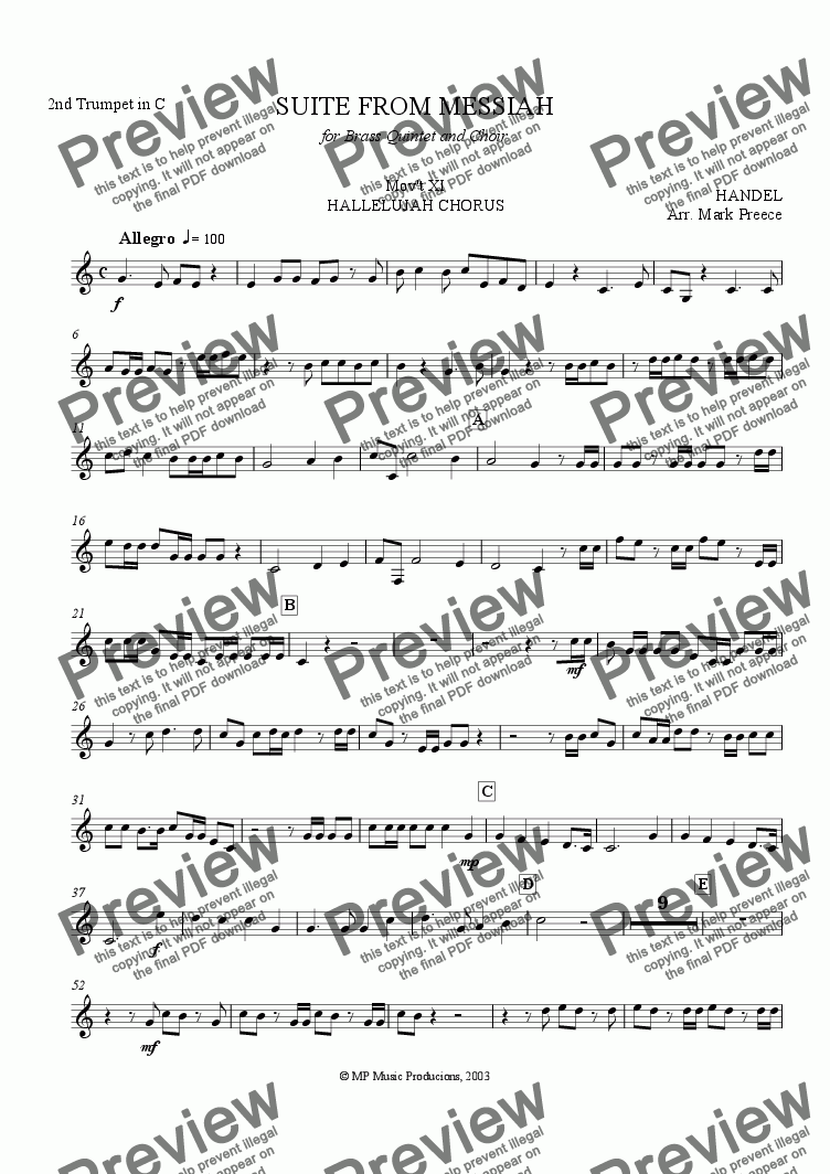 page one of the Trumpet 2 in C part from Handel Messiah Suite (xi) - Hallelujah Chorus