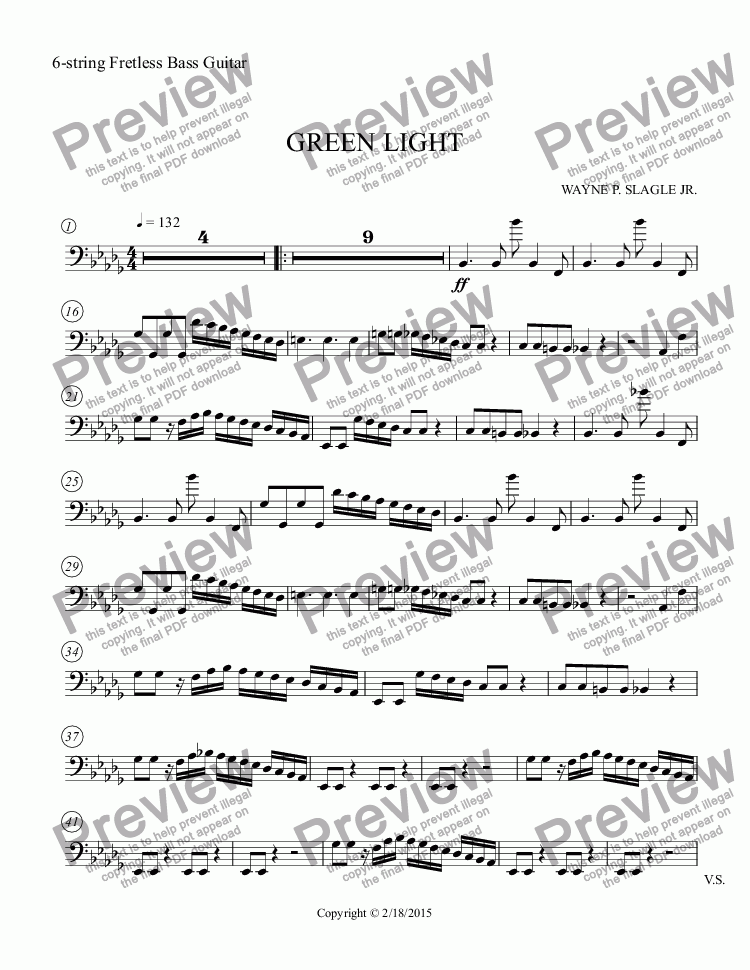 page one of the 6-string Fretless Bass Guitar part from GREEN LIGHT