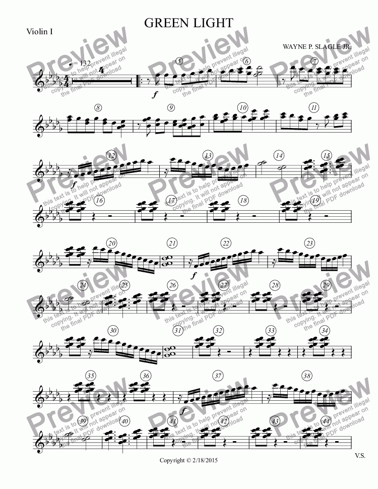 page one of the Violin I part from GREEN LIGHT