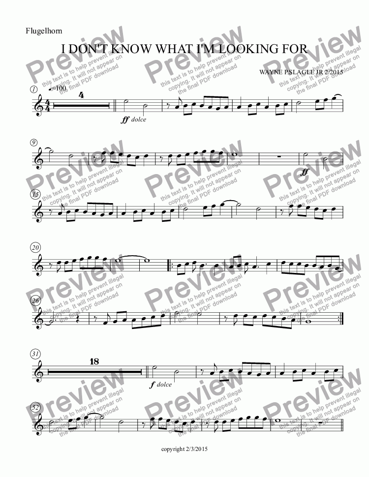 page one of the Flugelhorn part from I DON'T KNOW WHAT I'M LOOKING FOR