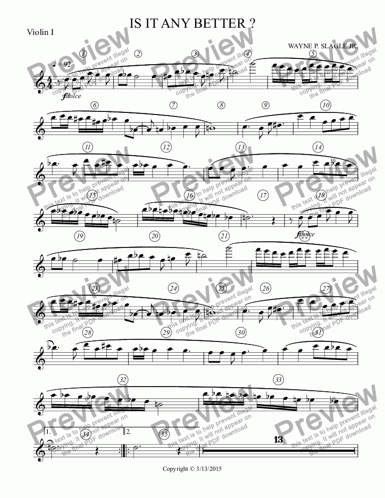 page one of the Violin I part from IS IT ANY BETTER ?