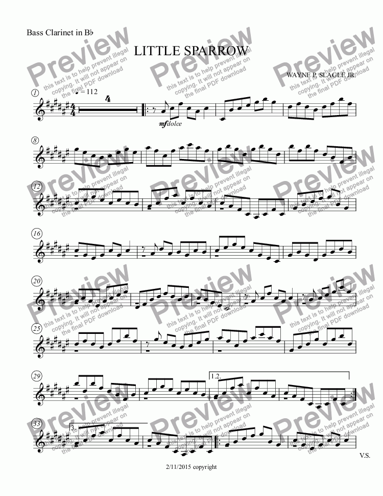 page one of the Bass Clarinet in B^b part from LITTLE SPARROW