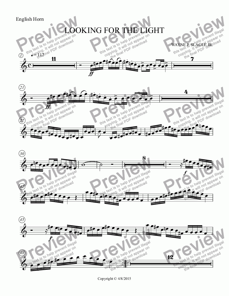 page one of the English Horn part from LOOKING FOR THE LIGHT