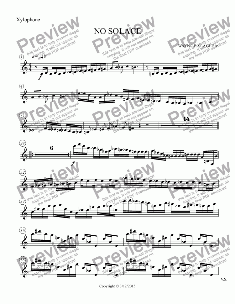 page one of the Xylophone part from NO SOLACE
