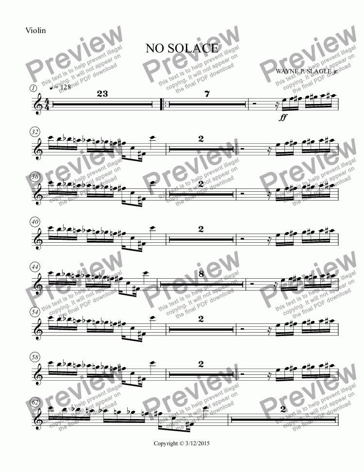 page one of the Violin part from NO SOLACE