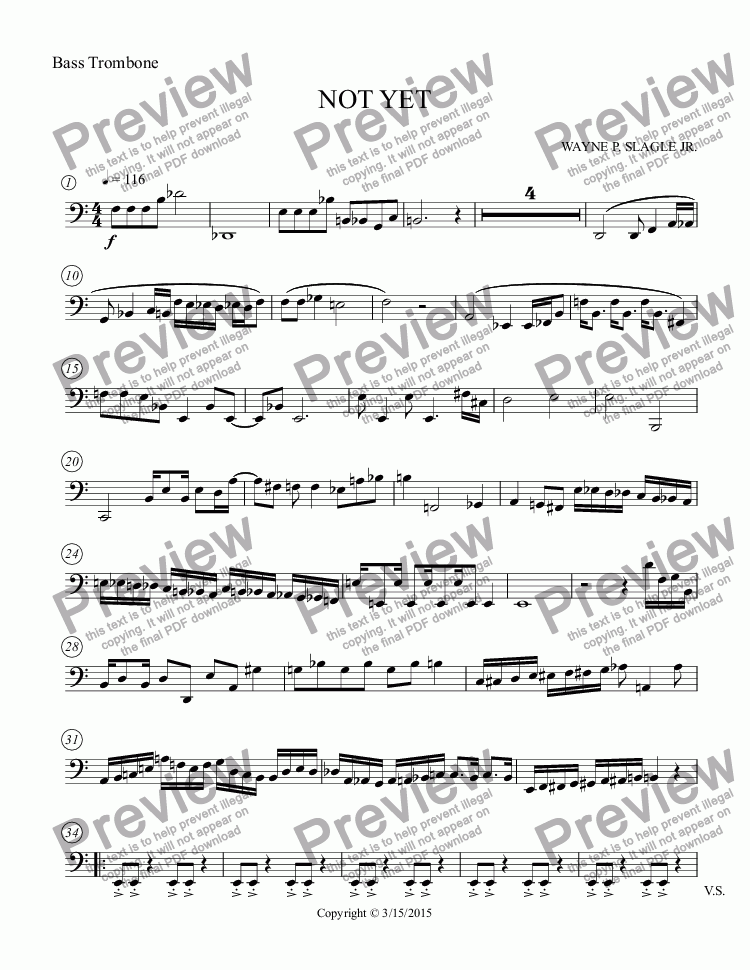 page one of the Bass Trombone part from NOT YET