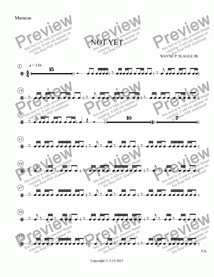 page one of the Maracas part from NOT YET