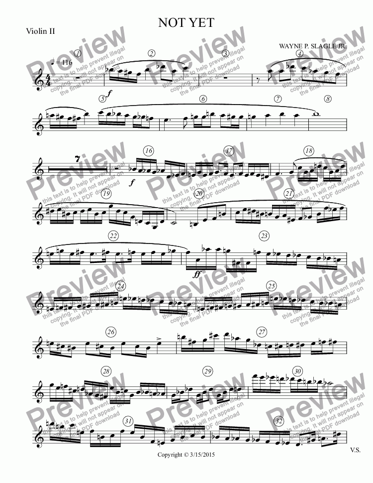 page one of the Violin II part from NOT YET