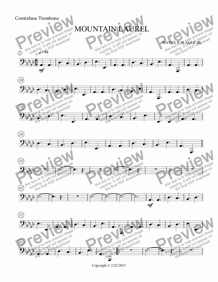 page one of the Contrabass Trombone part from MOUNTAIN LAUREL