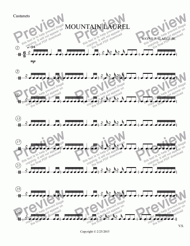 page one of the Castanets part from MOUNTAIN LAUREL