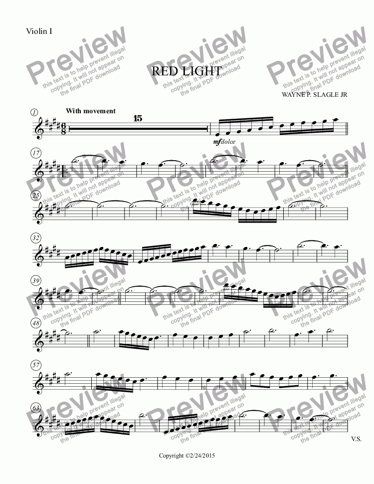 page one of the Violin I part from RED LIGHT