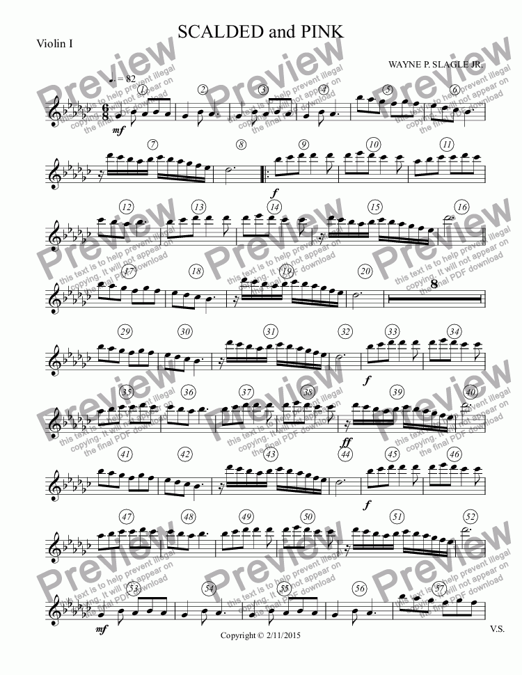 page one of the Violin I part from SCALDED and PINK