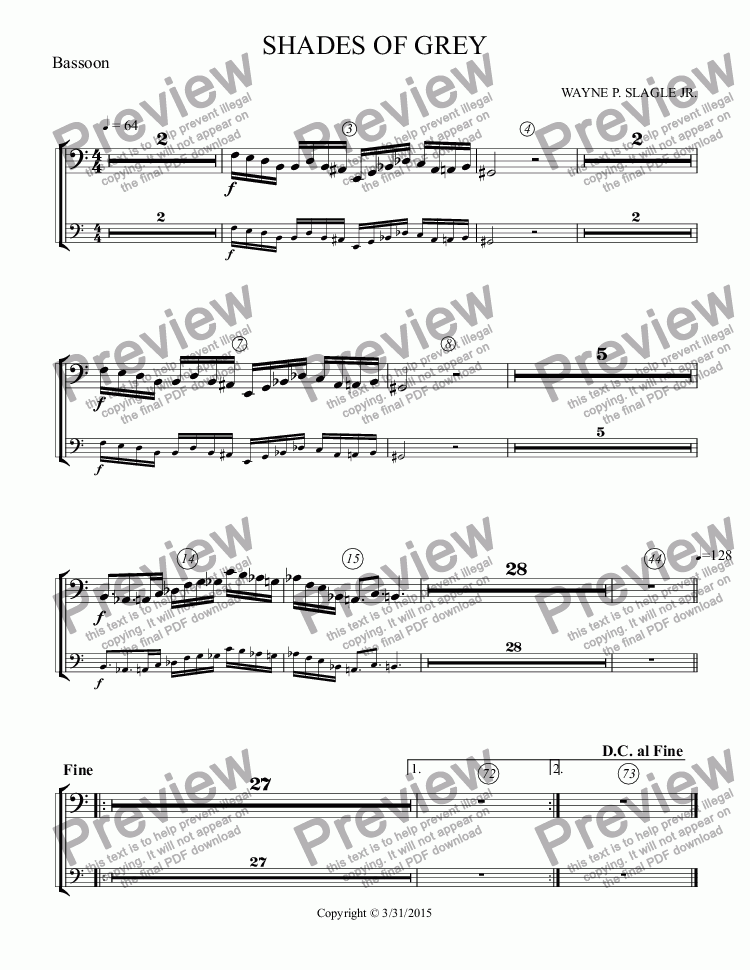 page one of the Bassoon part from SHADES OF GREY