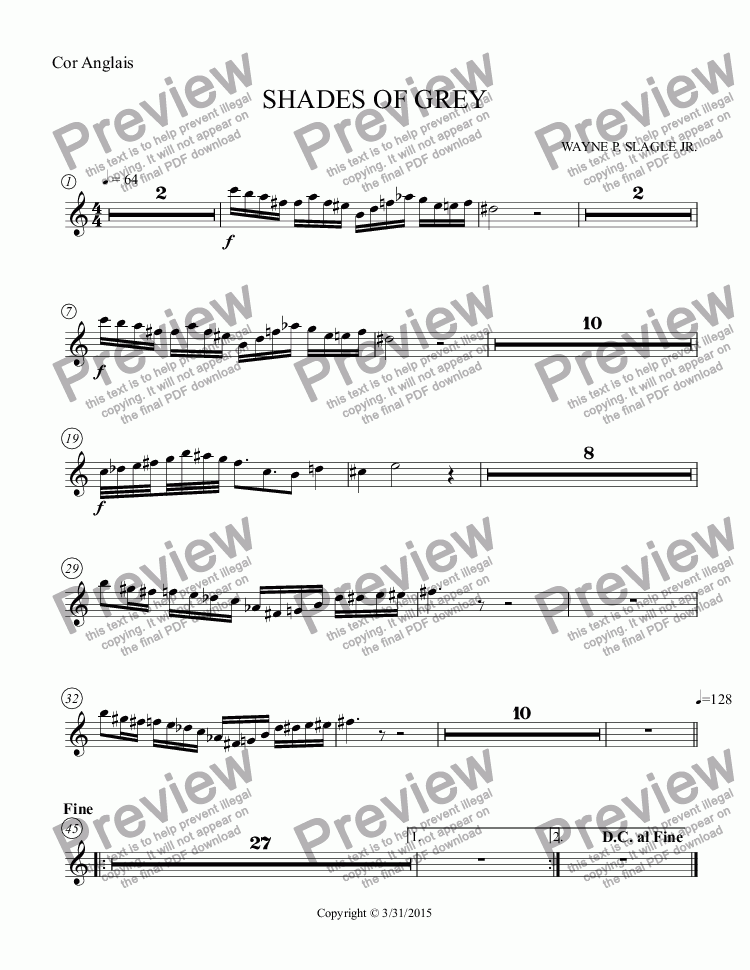 page one of the Cor Anglais part from SHADES OF GREY