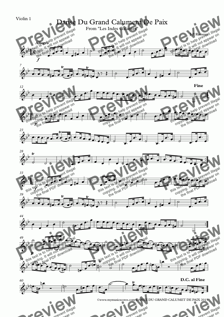 page one of the Violin 1 part from Rameau Danse Du Grand Calument De Paix for String Orchestra