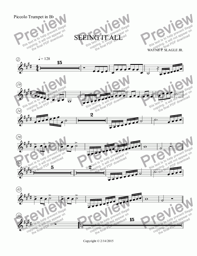 page one of the Piccolo Trumpet in B^b part from SEEING IT ALL