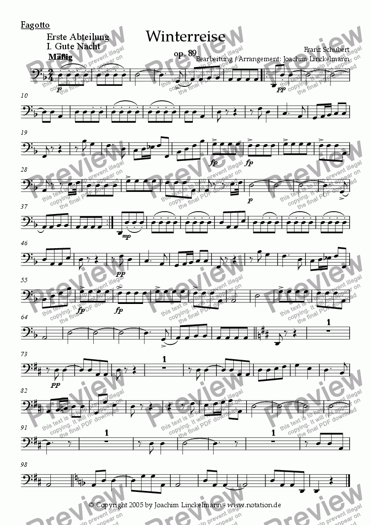 "page one of the Bassoon part from Schubert's ""Winterreise"" for woodwind quintet and tenor 1. ""Gute Nacht"""