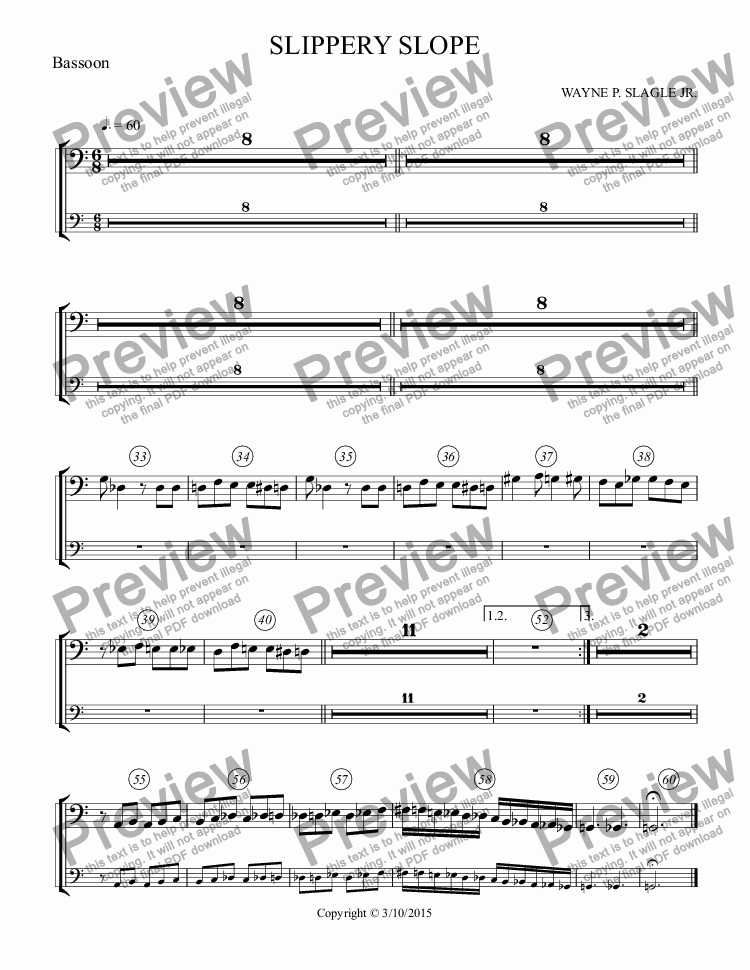 page one of the Bassoon part from SLIPPERY SLOPE