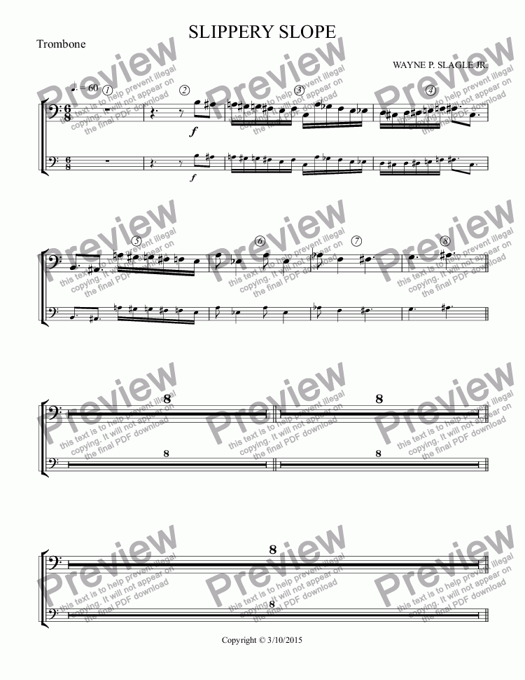 page one of the Trombone part from SLIPPERY SLOPE